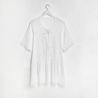Mini abito misto cotone con ricamo