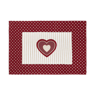 100% cotton table mat with polka dots and stripes