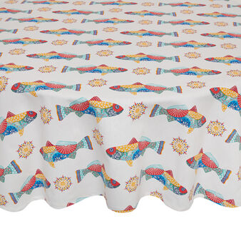 Round 100% cotton tablecloth with Mexican fish print