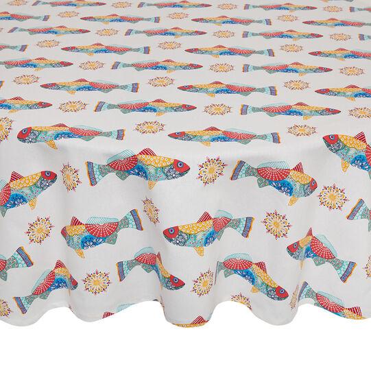 Tovaglia rotonda puro cotone stampa pesci messicani