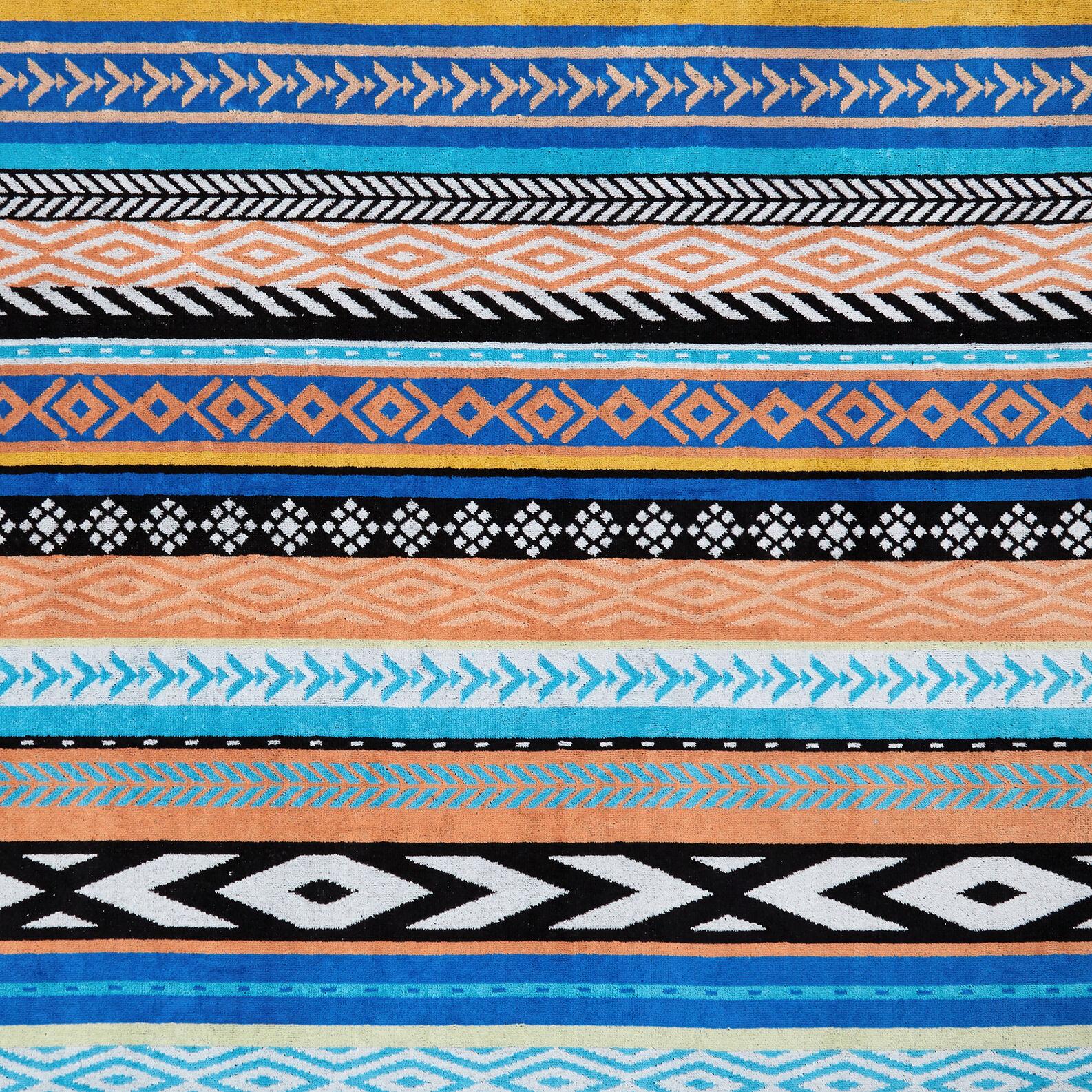 Cotton velor beach towel ethnic motif