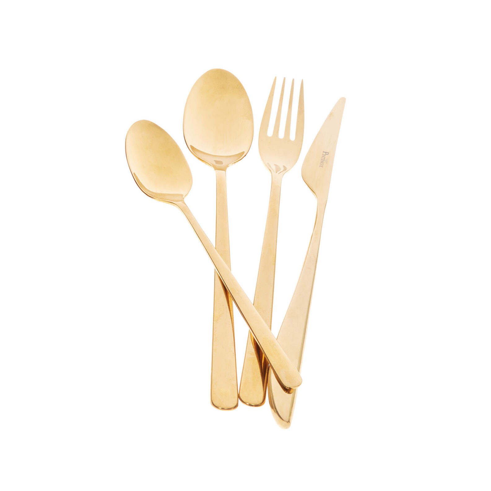 24-piece cutlery set in steel with gold finish