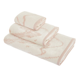 Cotton velour towel with marble-effect design
