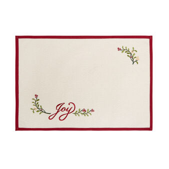 Cotton and lurex table mat with Joy embroidery