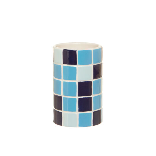 Mosaic-effect toothbrush holder