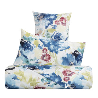 Cotton satin duvet cover set with floral pattern