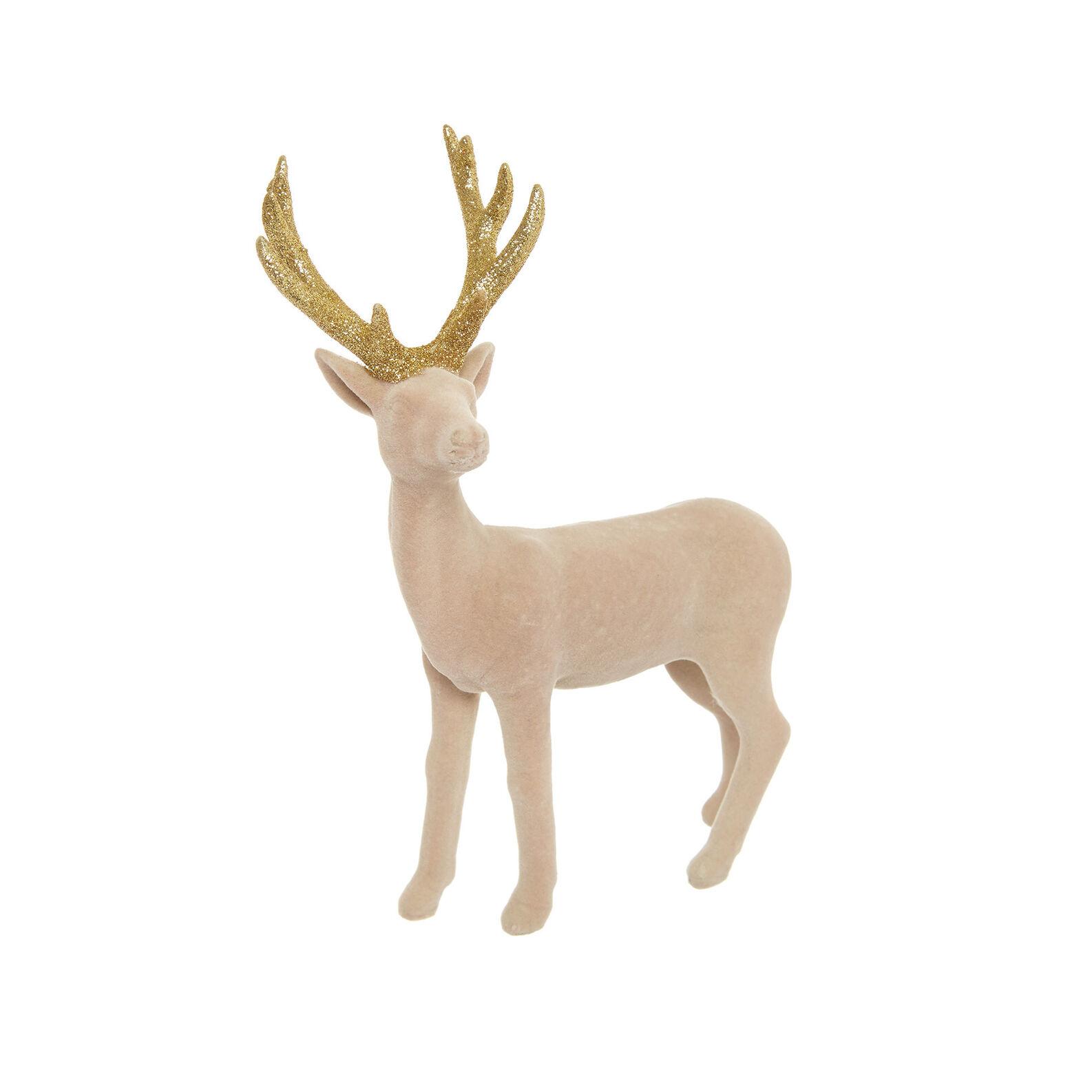 Velvet-effect deer decoration