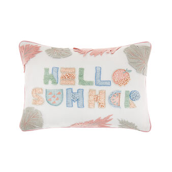 Cotton cushion with Hello summer embroidery 35 x 50 cm