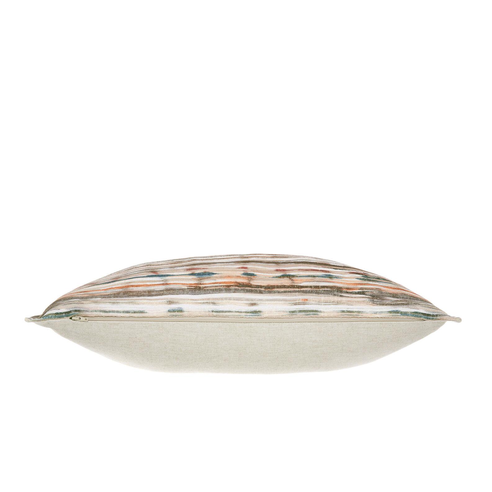 Peach fuzz-effect cushion with striped design 35x55cm