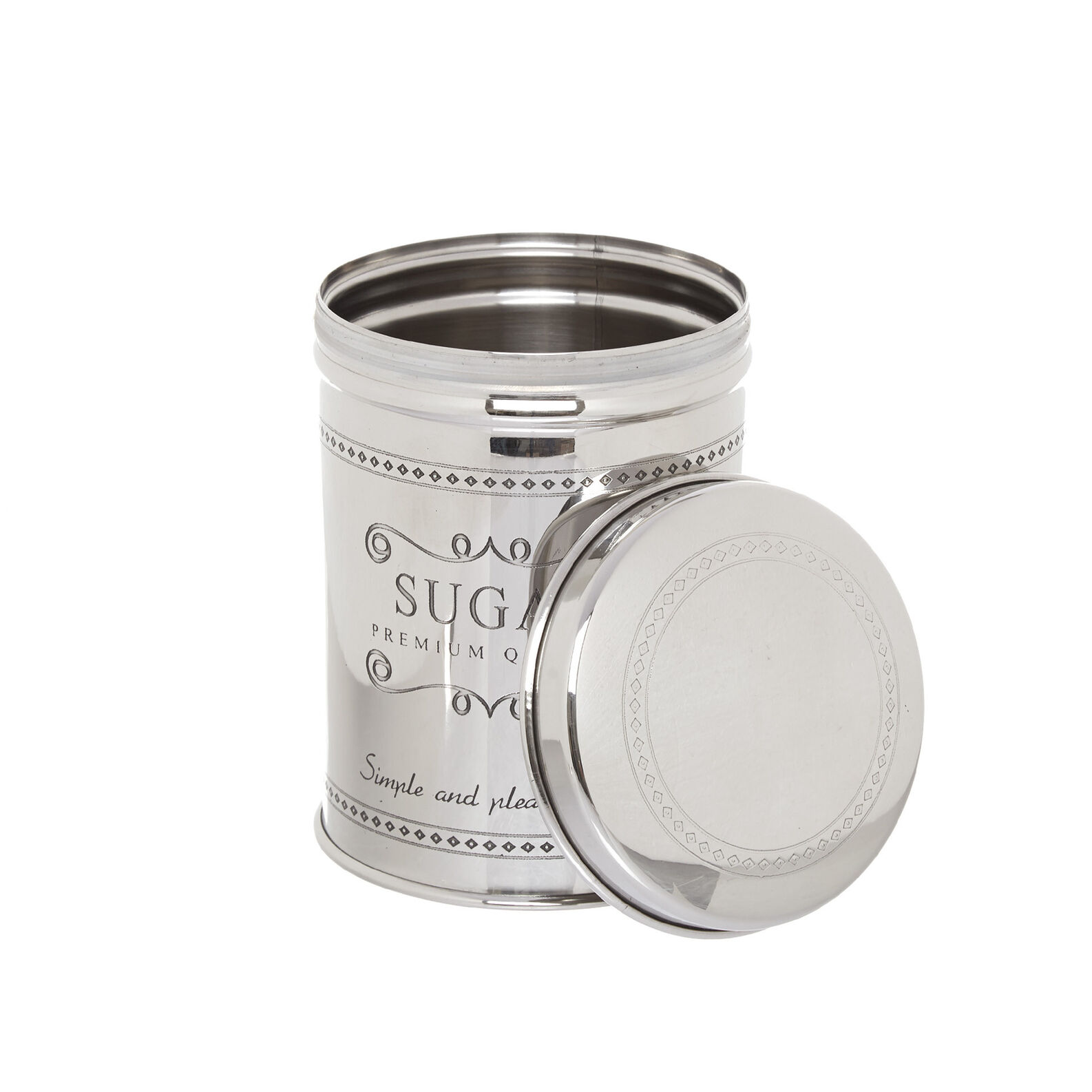 Steel sugar tin with lettering