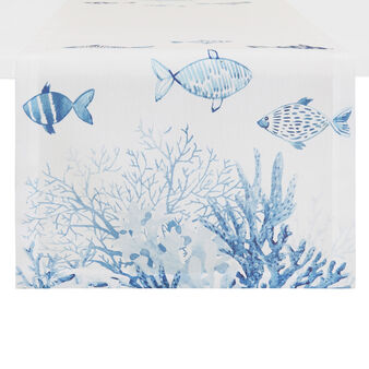 100% cotton table runner with fish and coral print
