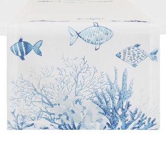 Runner puro cotone stampa pesci e coralli