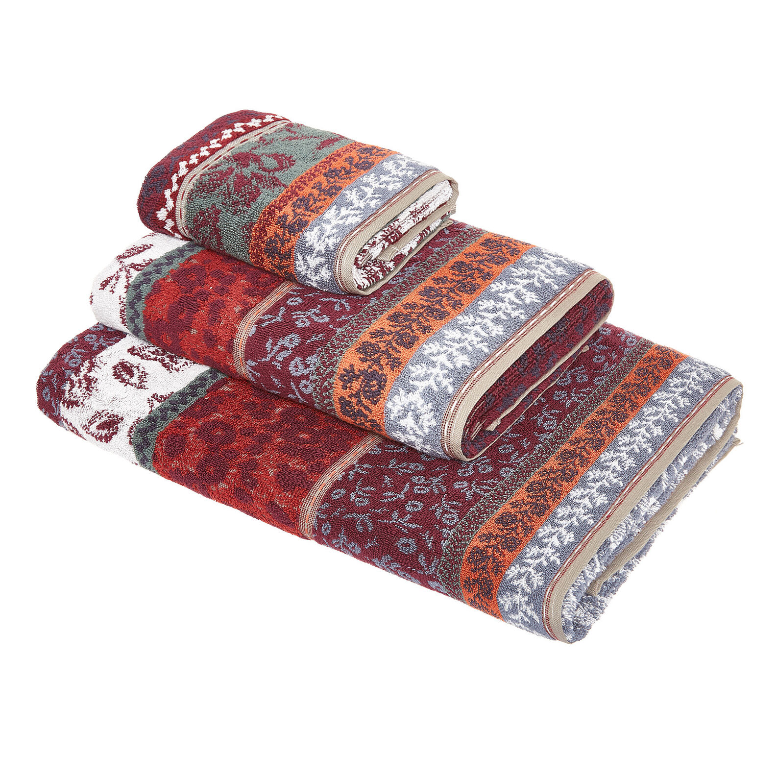 Asciugamano cotone disegno jacquard floreale
