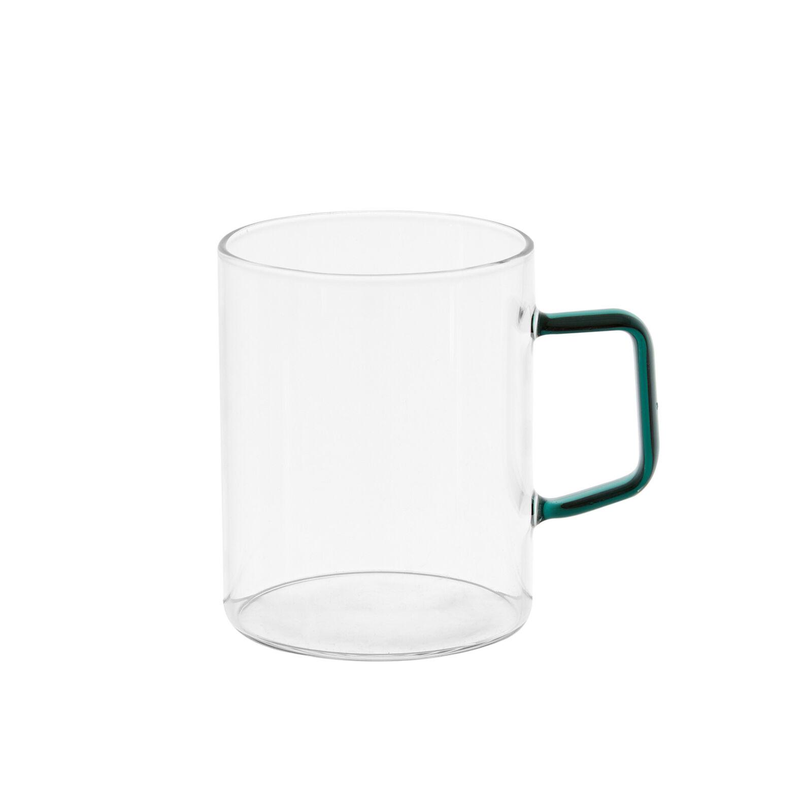 Glass mug with coloured handle