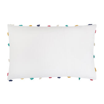 Cotton percale pillowcase with tassels