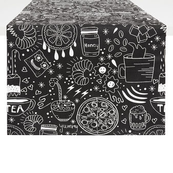 100% cotton table runner with food print