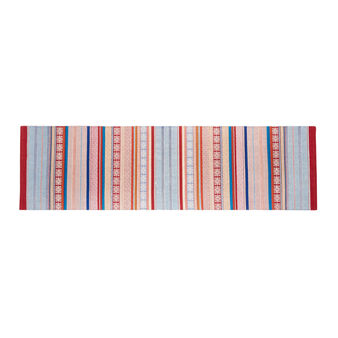 Cotton blend kitchen mat with striped print