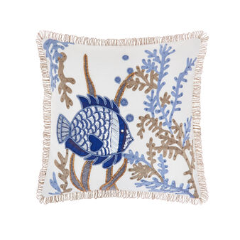Cotton cushion with fish embroidery 45x45cm