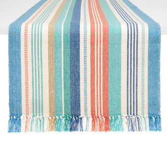 100% cotton table runner with multicoloured stripes