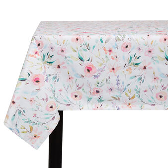 Water-repellent cotton twill tablecloth with roses print