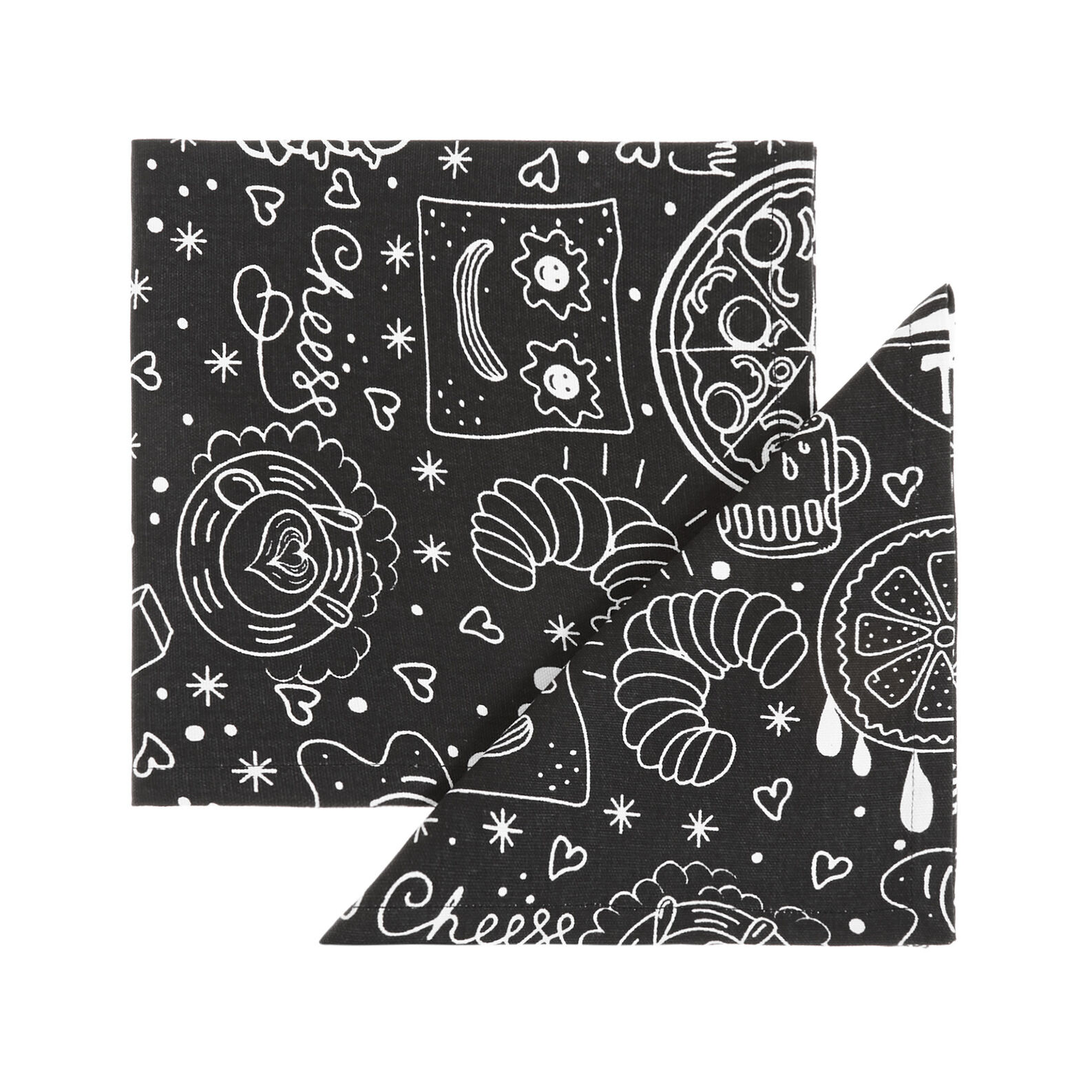 2-pack napkins in 100% cotton with food print