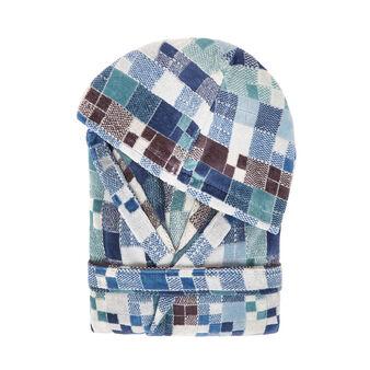 Cotton velour bathrobe with check pattern