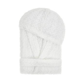Cotton terry bathrobe with braided motif