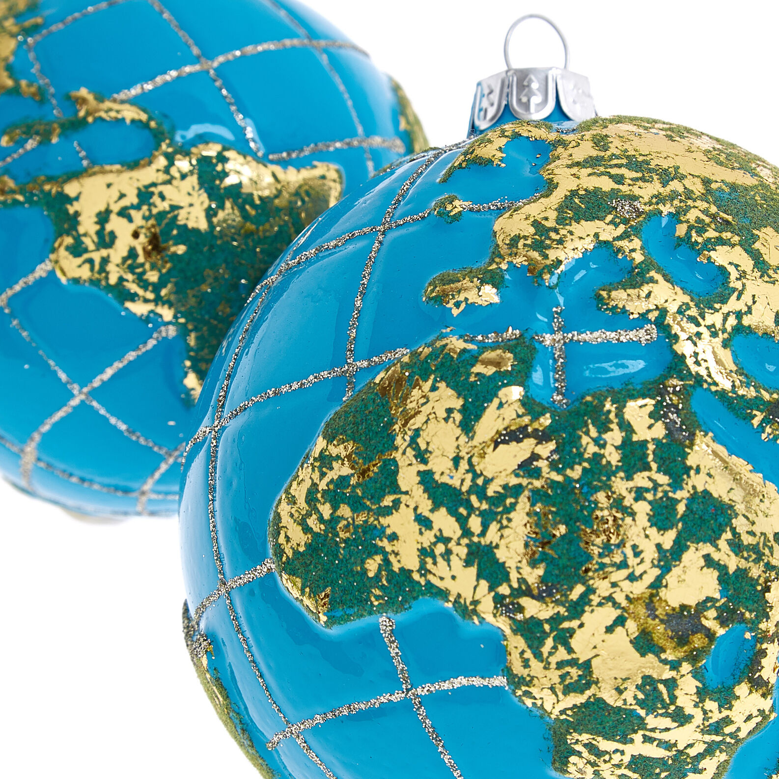 Hand-decorated bauble with globe design