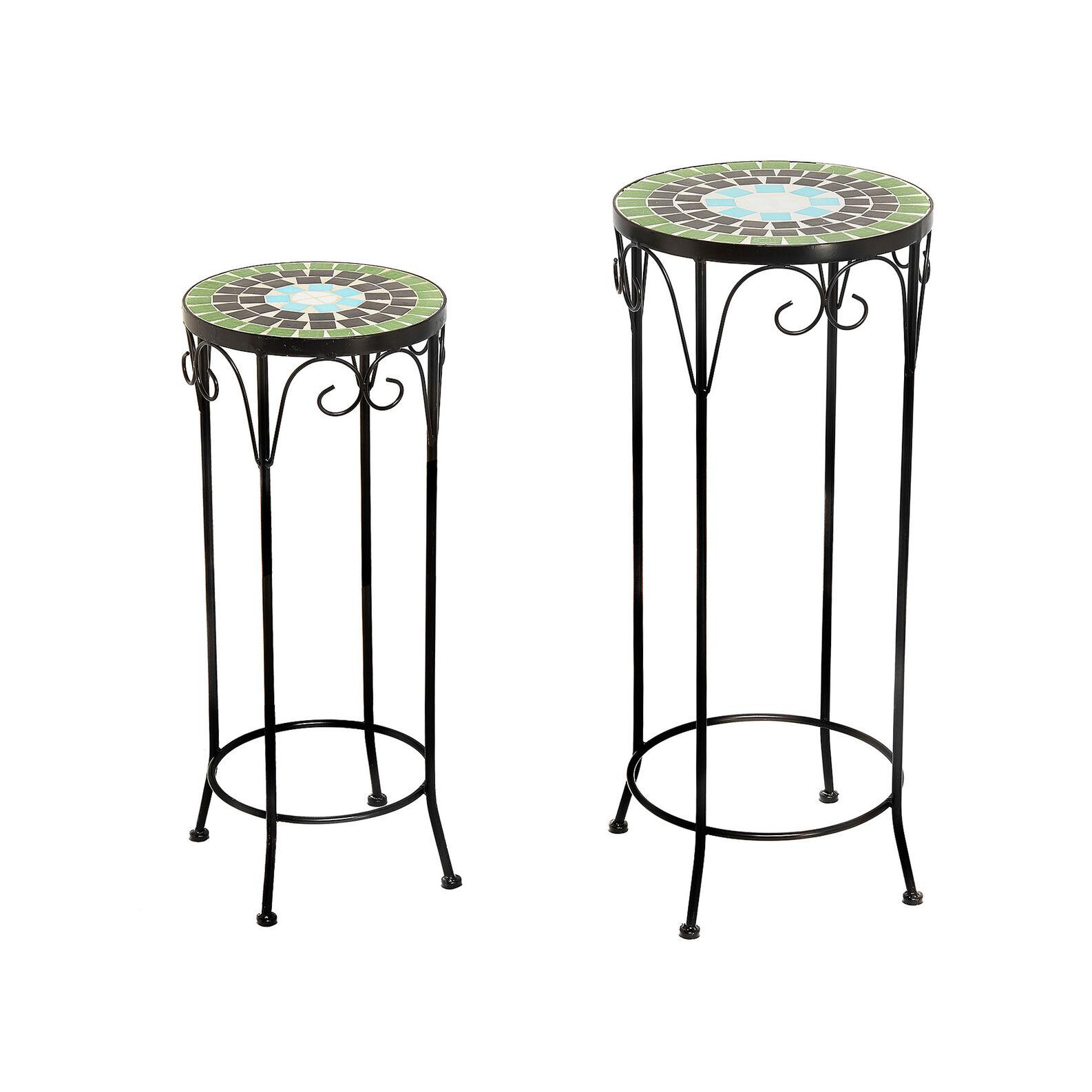Set 2 tavoli in mosaico e acciaio Mosaico