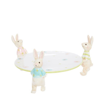 Ceramic serving dish with rabbits