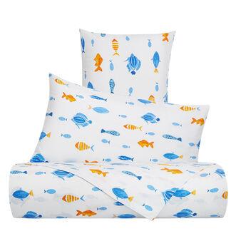 Parure lenzuolo cotone percalle fantasia pesci