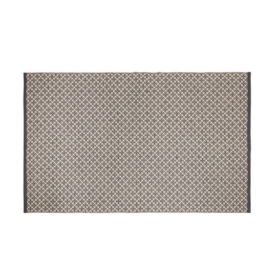 Hand-woven cotton rug with geometric motif