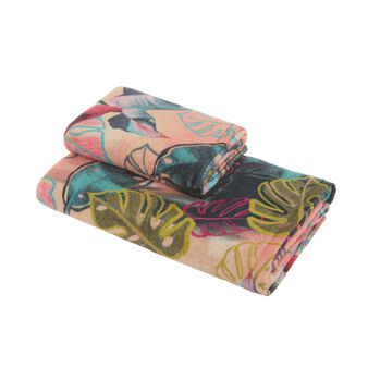 Asciugamano cotone velour motivo tropicale