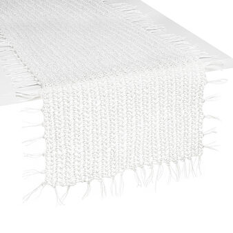 Woven raffia table runner with fringing