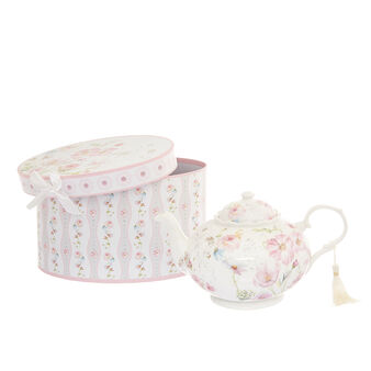 Porcelain gift teapot with rose decoration