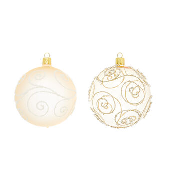 Bauble with swirls in hand-blown glass D10cm