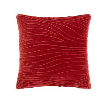 Draped cotton velvet cushion (45x45cm)