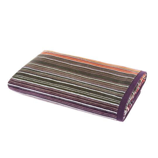 Cotton velour towel with multicoloured stripes