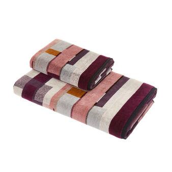 Cotton velour towel with geometric design