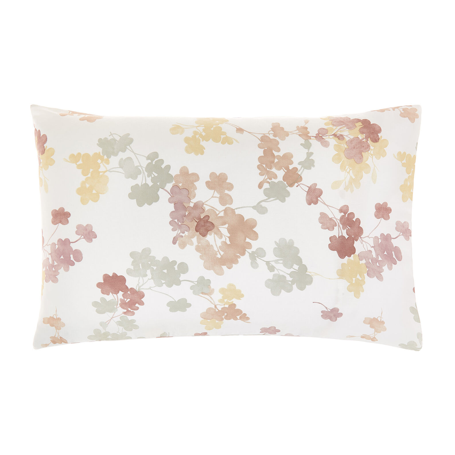 Cotton satin pillowcase with floral pattern