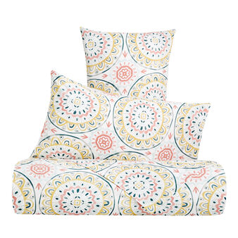 Duvet cover set in cotton percale with mandala pattern