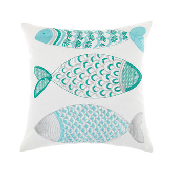 Cushion with embroidered fish pattern