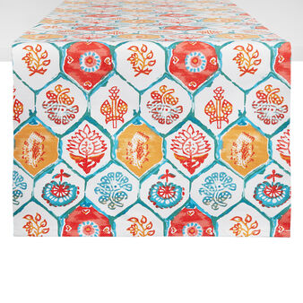100% cotton table runner with majolica print