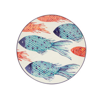 Ceramic plate with fish decoration