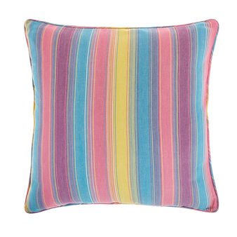 100% cotton cushion with multi-striped motif