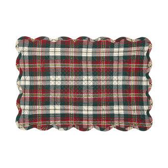 Cotton twill table mat with tartan motif and lurex yarn