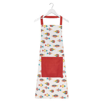 Kitchen apron in 100% cotton with fish print