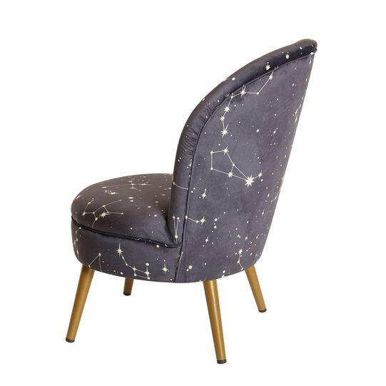 Constellation small velvet armchair with print