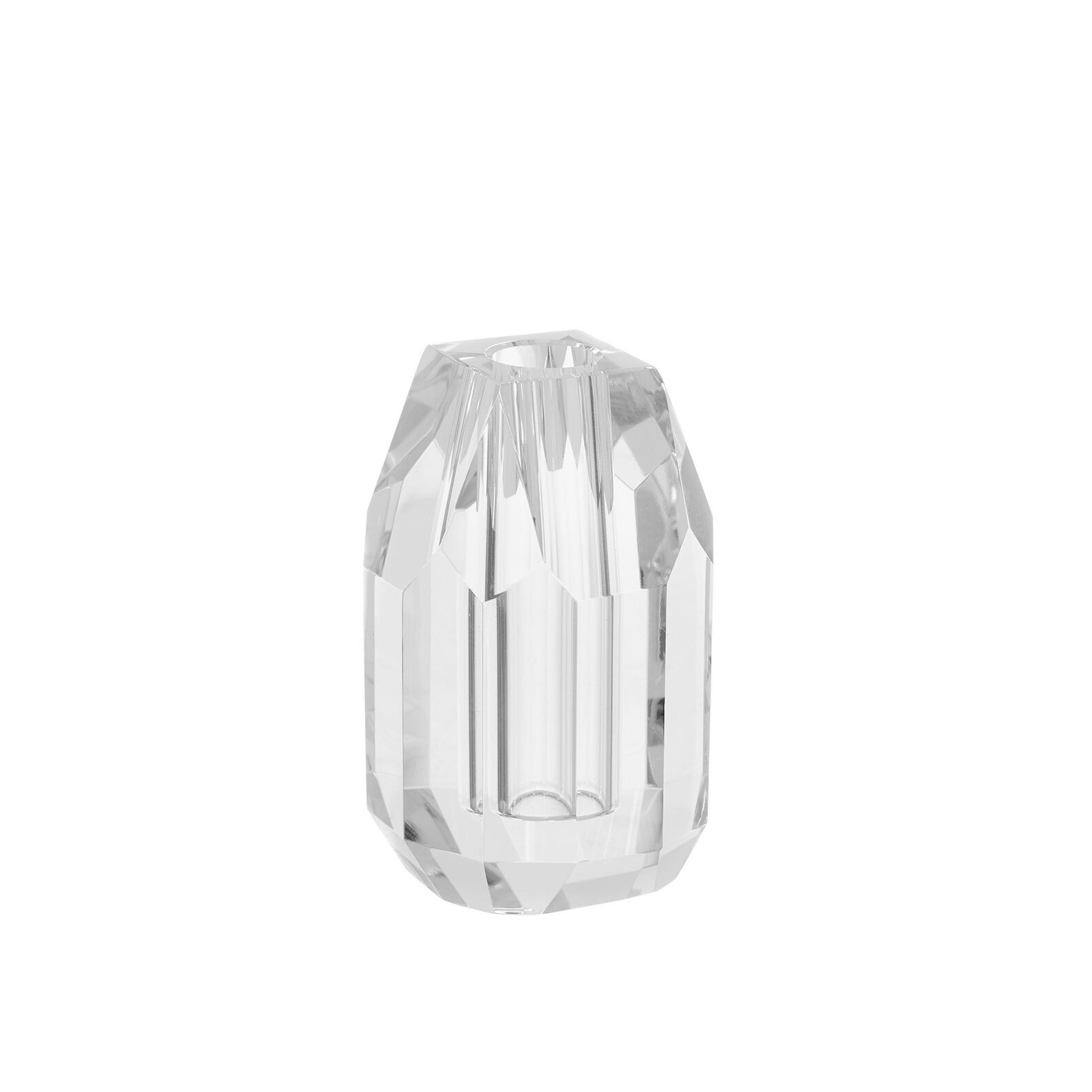 Crystal candle holder in glass H12cm