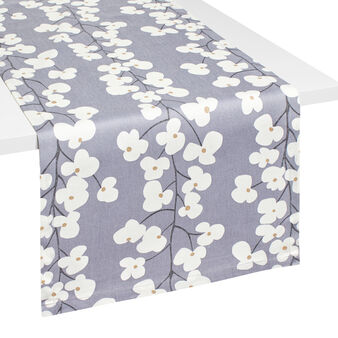 Floral table runner in 100% cotton
